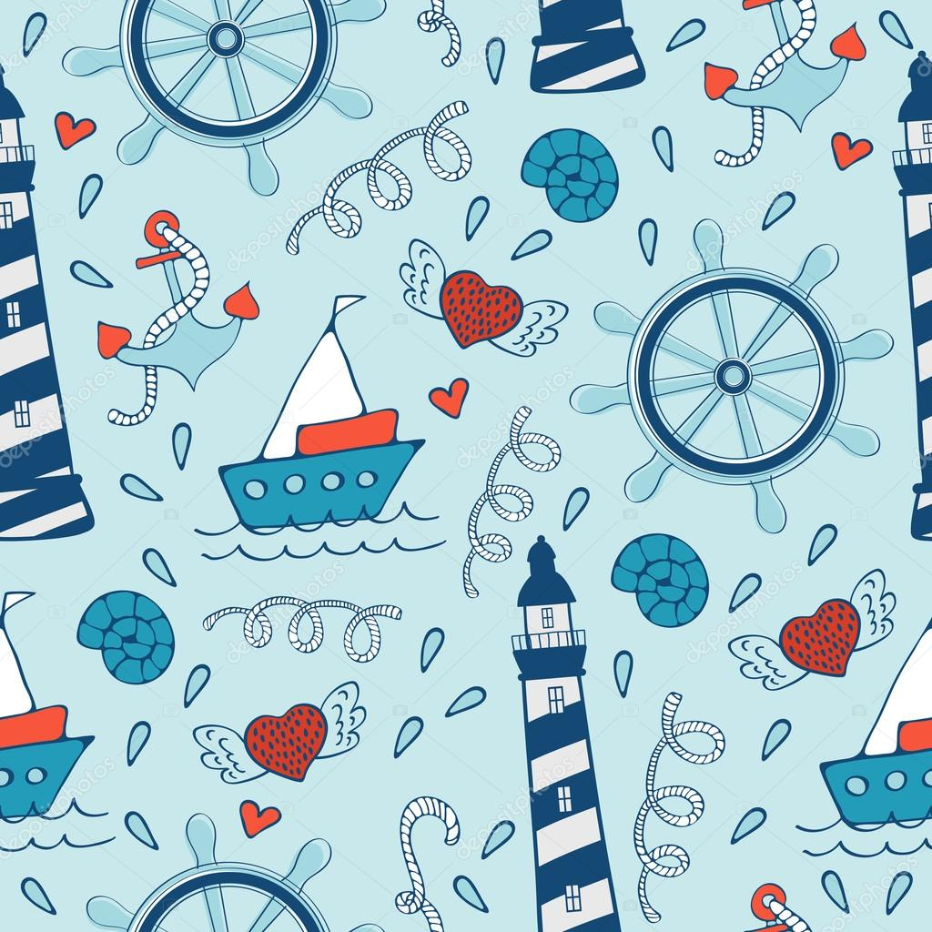 Colorful seamless sea pattern with steering wheels boats and lighthouses.