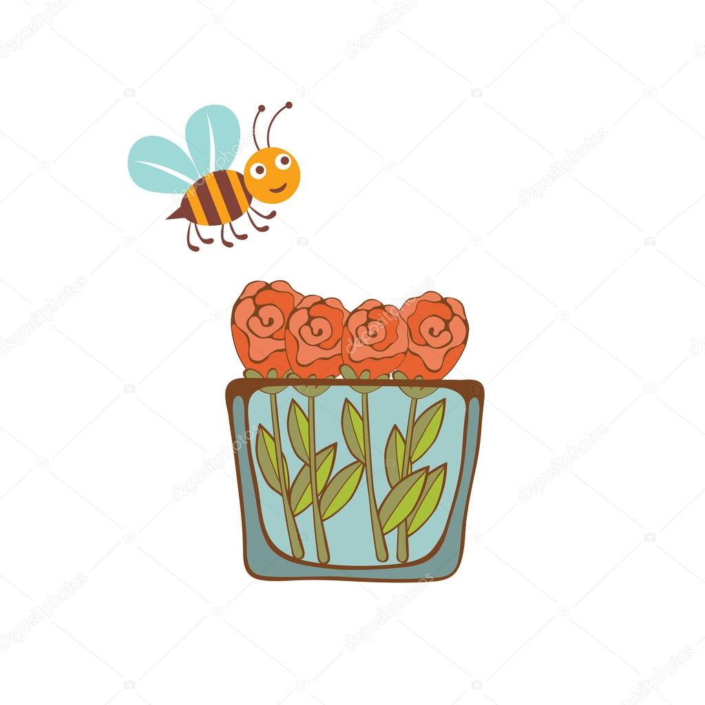 Illustration of a bee flying over a vase with flowers