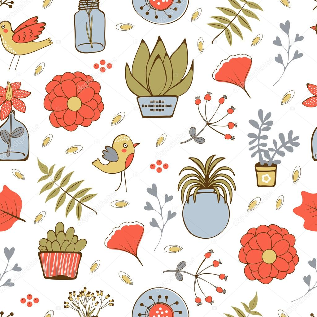 Seamless pattern with plants birds leaves and flowers