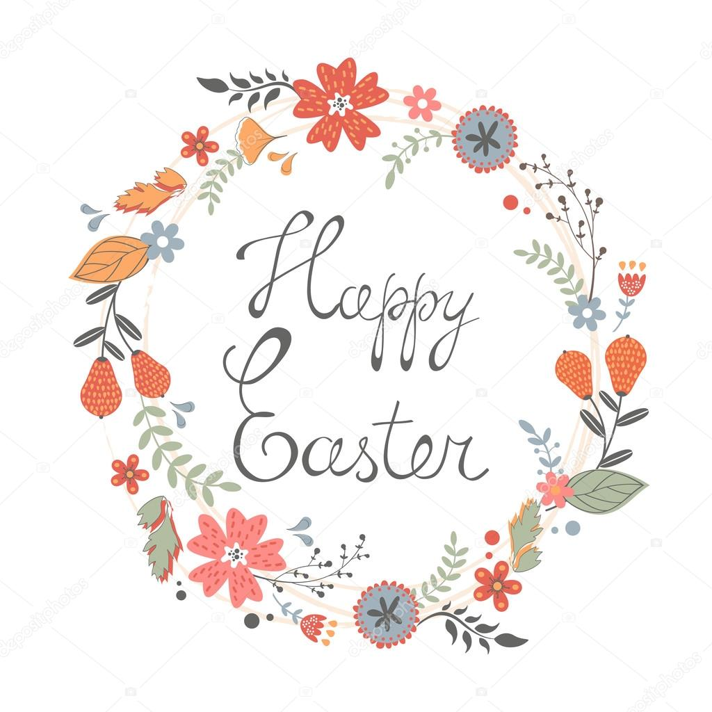 Beautiful happy Easter card with floral wreath