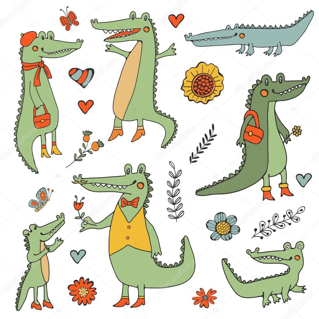 Stunning hand drawn crocodiles set