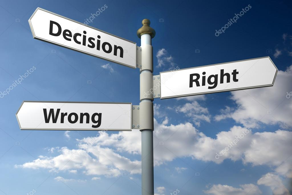 決定権または間違った標識を掲示...