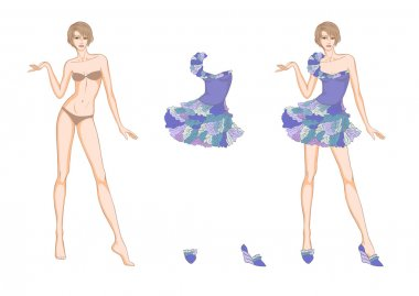 Colored Paper doll and flower fantasies clothes for her