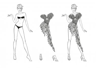 Coloring Page. Paper doll and flower fantasies clothes for her