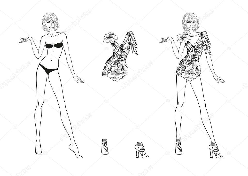 Coloring Page. Paper doll and flower fantasies clothes for her ...