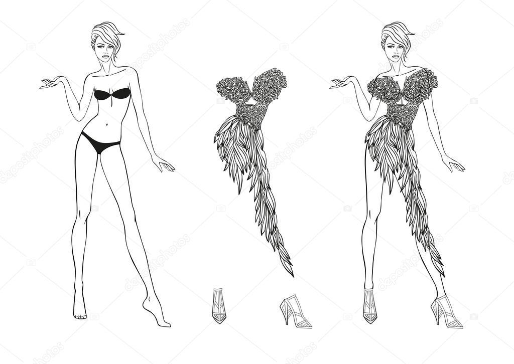 Página para colorear. Muñeca de papel y flores fantasías ropa para ...