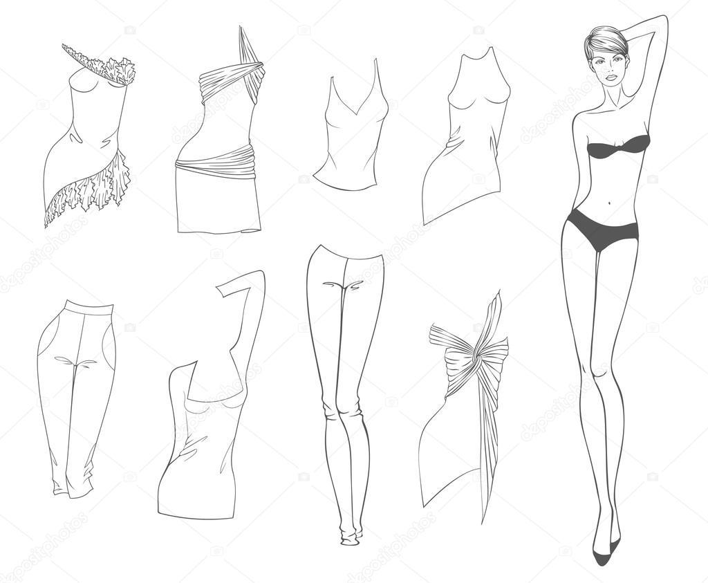 Muñeca de papel de vectores de una hermosa niña y ropa de verano ...