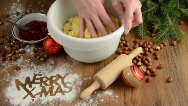 Christmas baking process for pastry Merry X-mas. cookies.