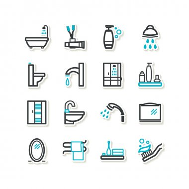 Set of icons - a bathroom