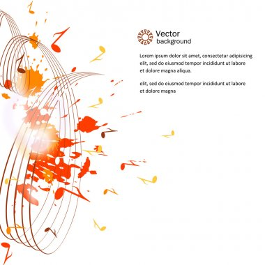 Abstract musical background - notes, paint spots. Vector. clip art vector