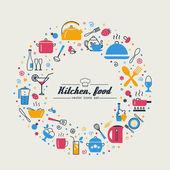 Küche. Essen. Reihe abstrakter Bilder.