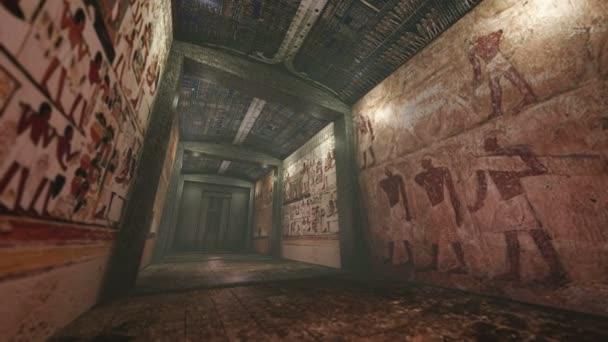 Animovaný hrobka s staré wallpaintings ve starověkém Egyptě