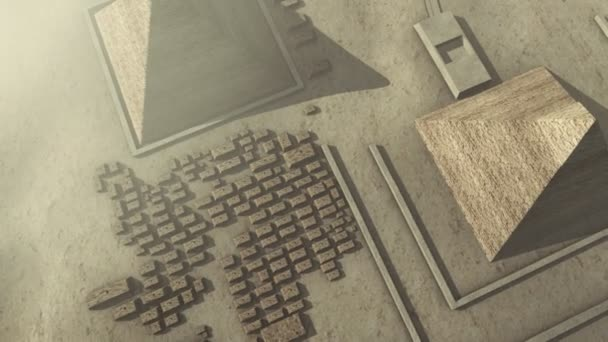 Flying above a 3D animation of the Giza platform Egypt
