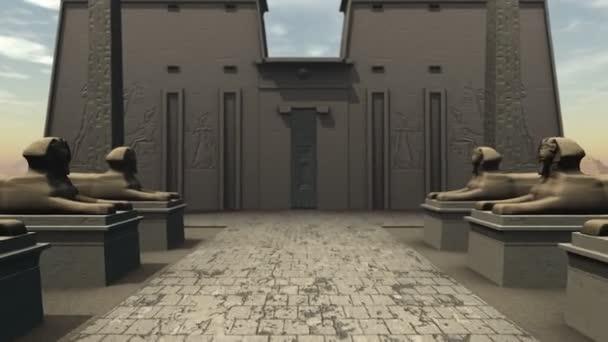 sochy Sphinx v chrámu ve starověkém Egyptě s greenscreen do dveří