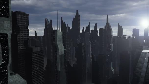 űrhajó, repülő egy futurisztikus város felett