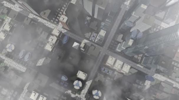 Letecký pohled na animované město s mraky