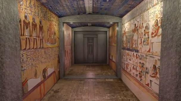 3d animace hrobky ve starověkém Egyptě. greenscreen za dveřmi