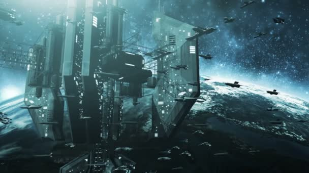 Animated colone of futuristic spaceships and an impressive space station