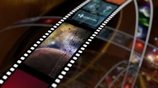 Animated rotating film reels