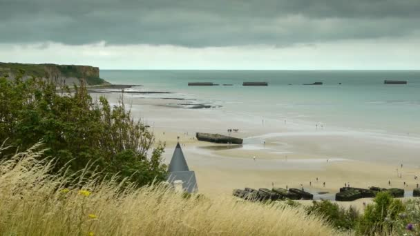 D Day Strand Von Arromanches Stockvideo Fredmantel 84181208