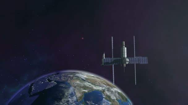 Vesmírná stanice létání na oběžnou dráhu země zázemí 4k