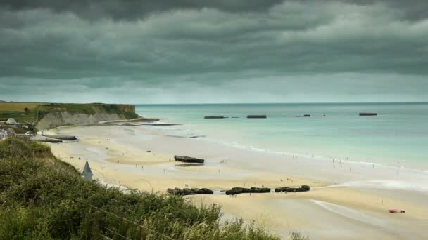D Day Strand Von Arromanches Stockvideo Fredmantel 84181656