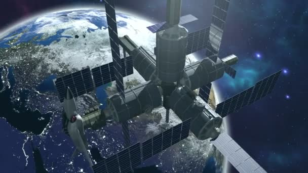 Animated space station with earth 4K