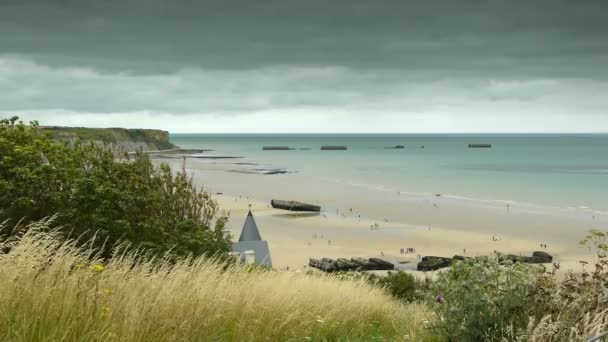 D Day Strand Von Arromanches Stockvideo Fredmantel 84182688