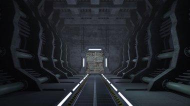 Rusty sci-fi corridor with doors