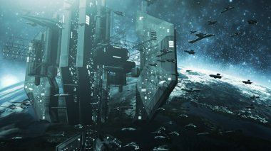 Colone of futuristic spaceships and an impressive space station
