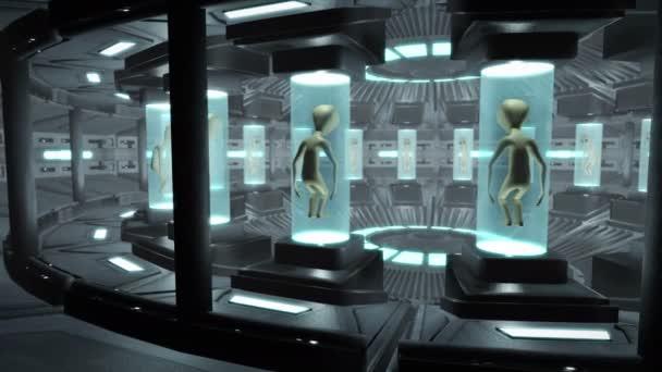 Interiér Ufo s mimozemšťany. Loop schopný 4k