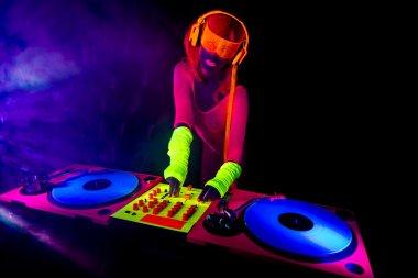 sexy neon uv glow DJ