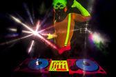Fényképek szexi neon dj ragyogás ember lemezjátszó