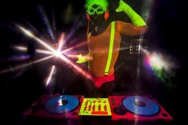 sexy neon dj glow man turntables