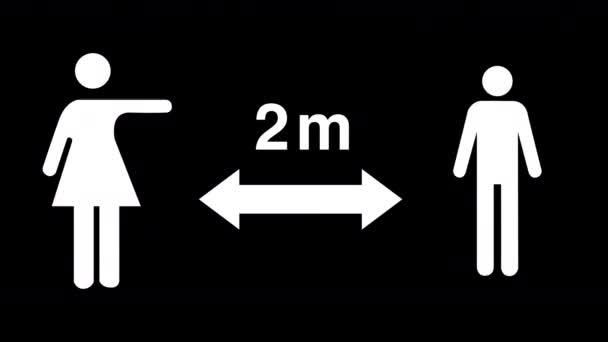 Mužské a ženské postavy udržující společenskou vzdálenost 2m