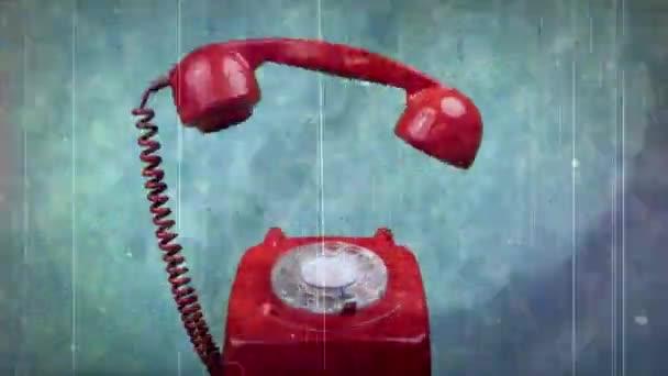 Červený klasický rotační telefon stop motion