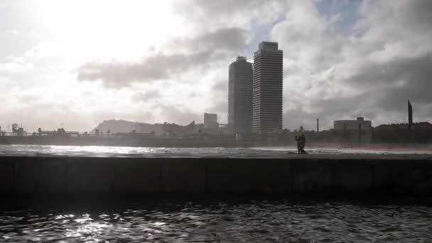Barcelona coastline after a storm