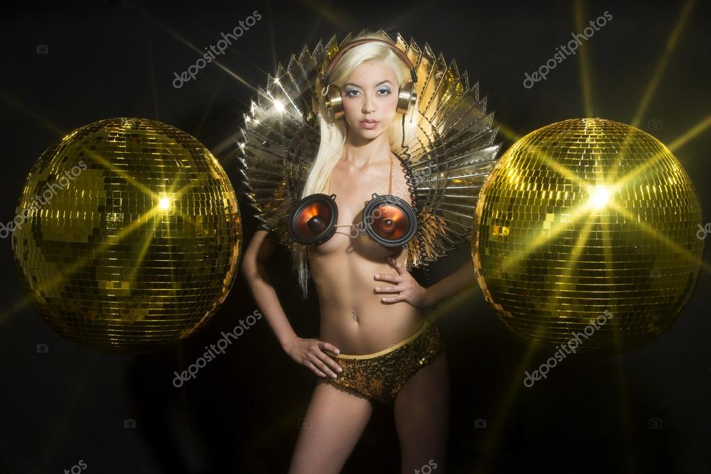 fantasy sexy gold disco woman