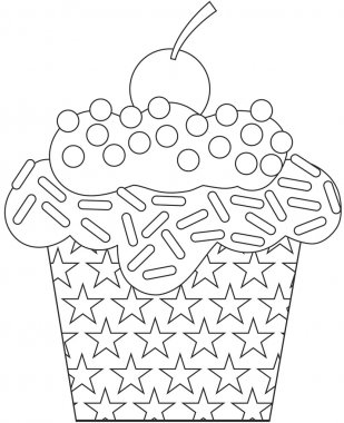 Black and white cartoon cupcake