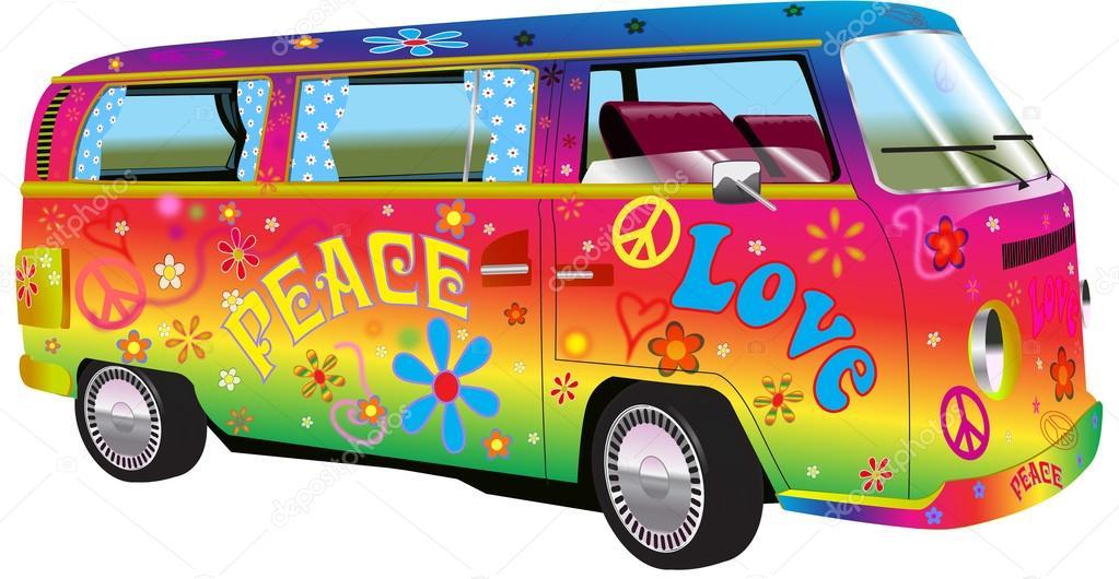 Illustration De Van Hippie Arc En Ciel Photographie