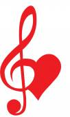 Herz gebildet, der Violinschlüssel und Bassschlüssel