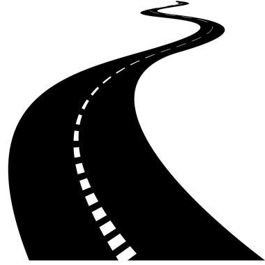 Twisty road rendered illustration.