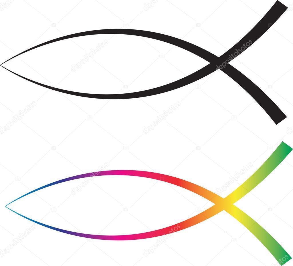 Pez Cristiano Hd Peces De Jesús Pintados Colores Foto De Stock
