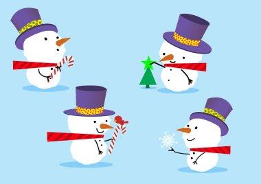 four snowmen standing around