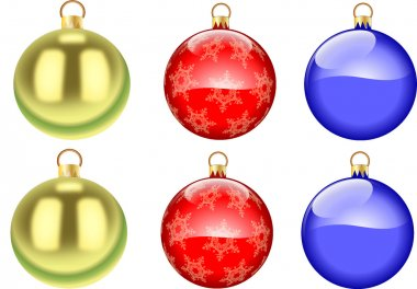 colored christmas tree ornaments on white background