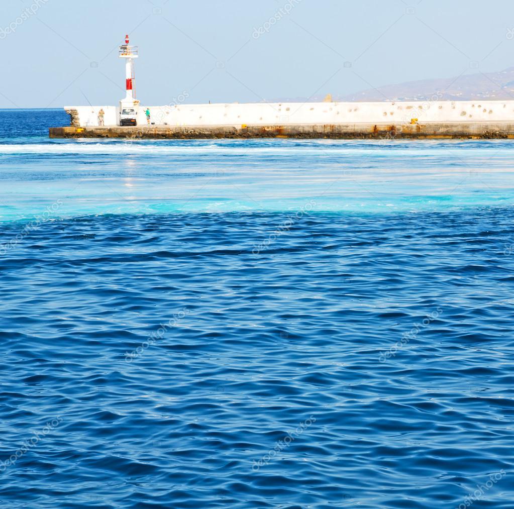 Leuchtturm Griechenland Insel Santorini Europa Bootshafen Und Kuchen U2014  Stockfoto