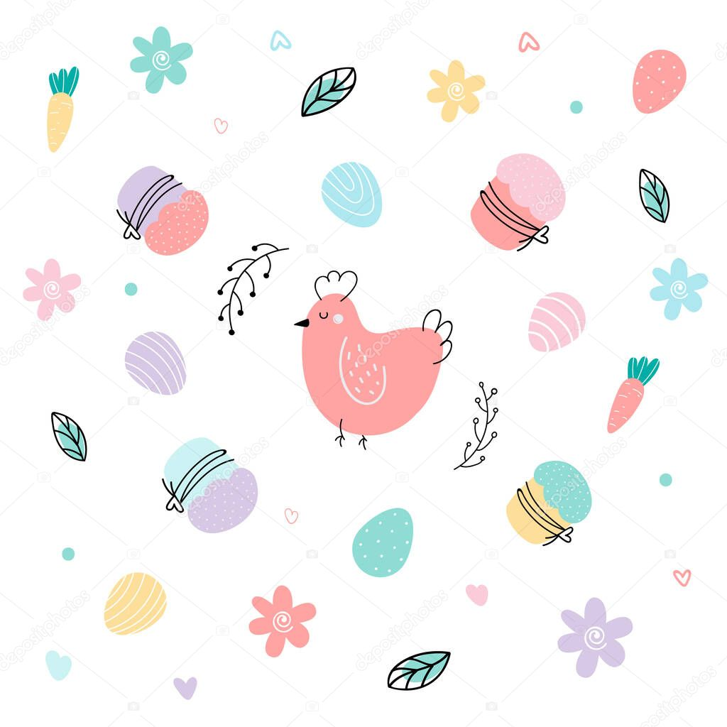 Set with Easter elements: eggs  chicken  cake icon