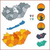 Vektorová mapa Maďarska s barevné okresy na samostatné pojmenované vrstvy a maďarský symboly