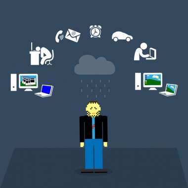 Set of flat design concept icons for web and IT services on blue background with an IT specialist pixel figure