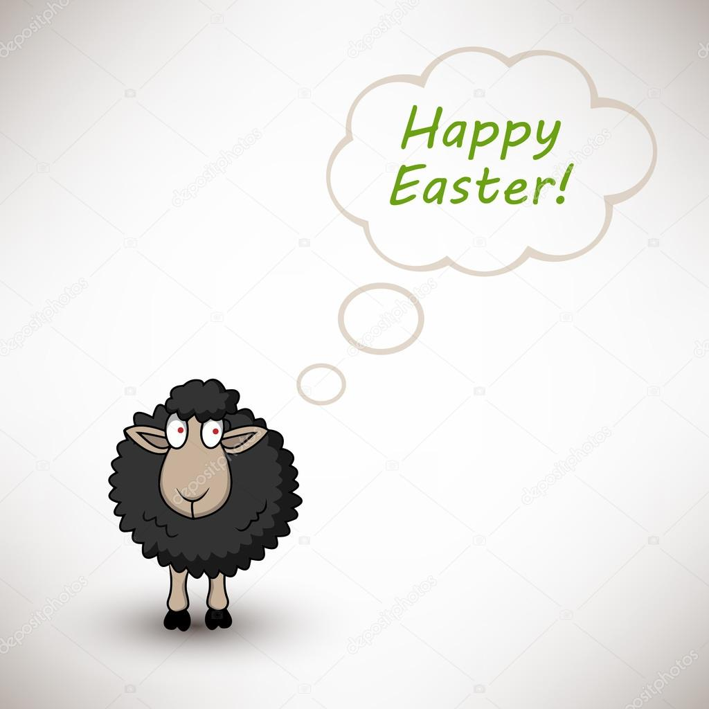 Black easter sheep on white background with text cloud